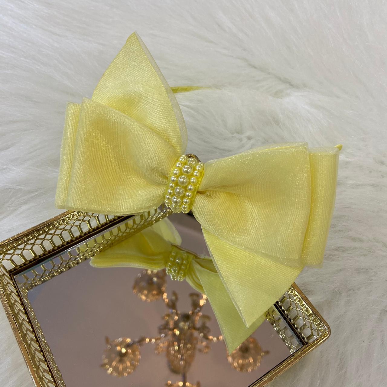 Tiara Laço Luxo Amarela