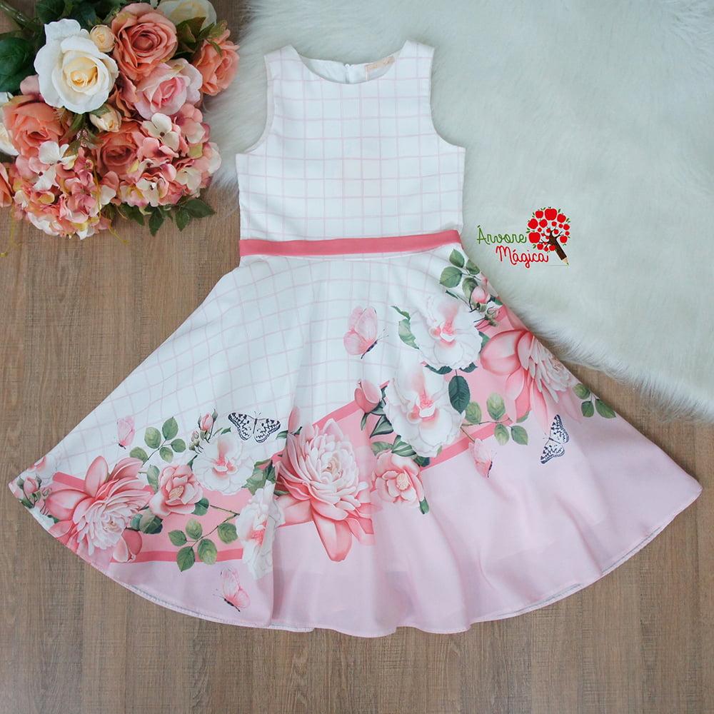 Vestido de Festa Infantil Floral Fluído Kids Petit Cherie