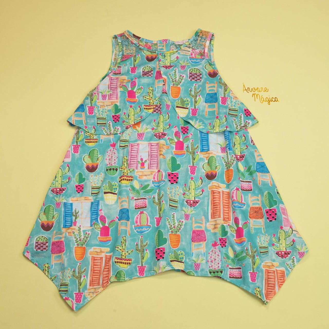Vestido Infantil Cactos Soltinho Mon Sucré
