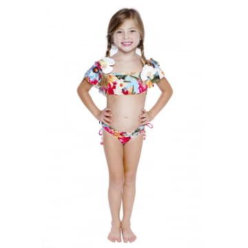 Biquini Infantil Ciganinha Floral Básico UV50+ (6 ao 12)
