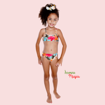 Biquini Infantil Floral Básico UV50+ (6 ao 12)