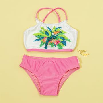 Biquini Infantil Tropical Bordado Proteção UV50+