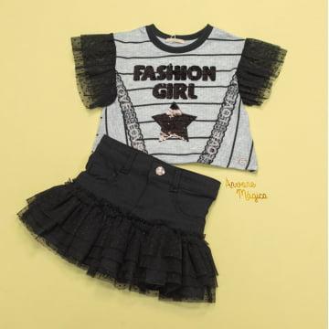 Conjunto Infantil Fashion Tule Tutu Petit Cherie