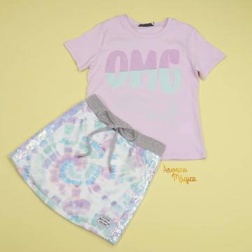 Conjunto Infantil Tie Dye OMG Vanilla Cream