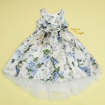 Vestido de Festa Infantil Borboletas 3D Barra de Tule Petit Cherie