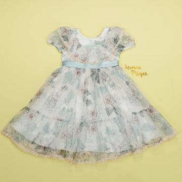 Vestido de Festa Infantil Tule Poá Petit Cherie