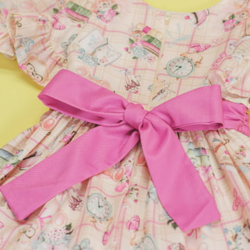 Vestido de Festa Infantil Ursinhos Babado Petit Cherie
