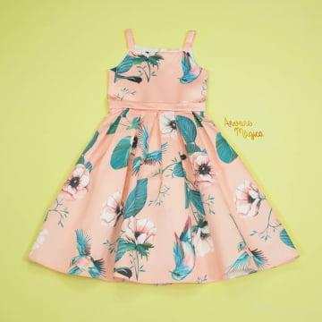 Vestido de Festa Infantil Salmão Folhagem Kids Petit Cherie