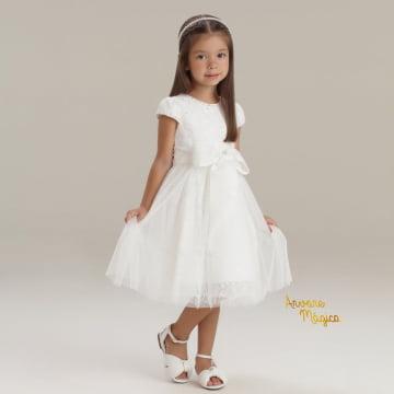 Vestido de Festa Infantil Branco Luxo Rendado Petit Cherie
