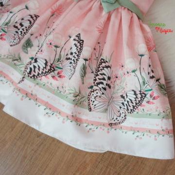 Vestido de Festa Infantil Borboletas FloresPetit Cherie
