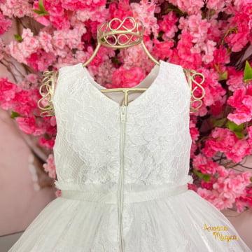 Vestido de Festa Infantil Branco Renda Tule Petit Cherie