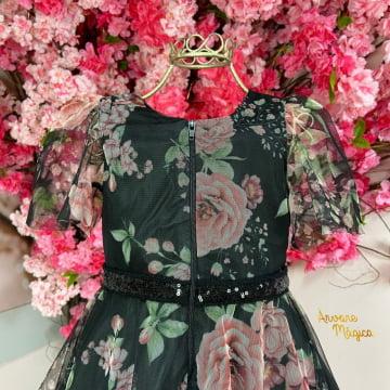 Vestido de Festa Infantil Floral Tule Petit Cherie