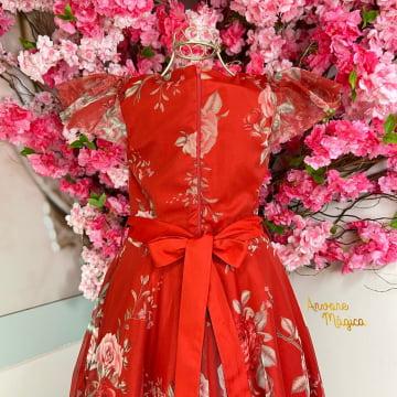 Vestido de Festa Infantil Floral Vermelho Petit Cherie