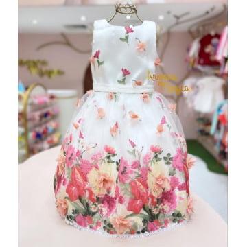 Vestido de Festa Infantil Flores 3D Petit Cherie