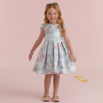Vestido de Festa Infantil Jardim Encantado Azul Petit Cherie