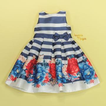 Vestido de Festa Infantil Listras Marinho Barra Floral Petit Cherie
