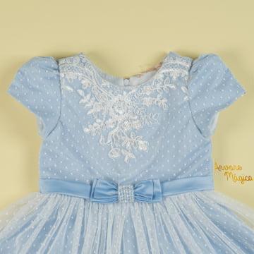 Vestido de Festa Infantil Renda Azul Petit Cherie