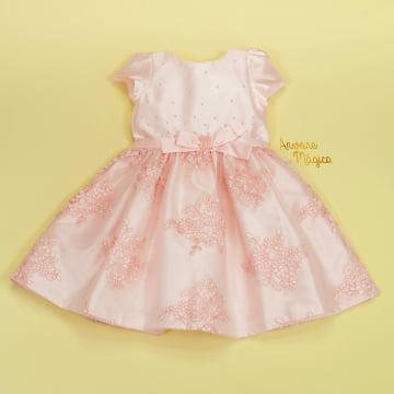 Vestido de Festa Infantil Renda Rosa Petit Cherie