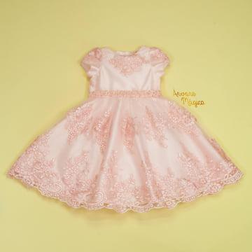 Vestido de Festa Infantil Rosa Bordado Real Petit Cherie