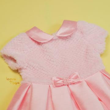 Vestido de Festa Infantil Rosa Pelúcia Petit Cherie