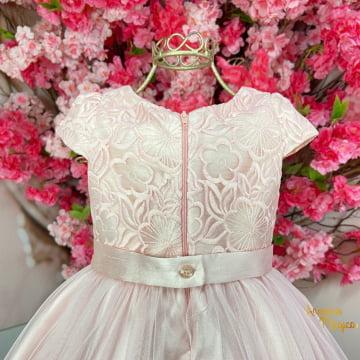 Vestido de Festa Infantil Rosa Renda Tule Petit Cherie