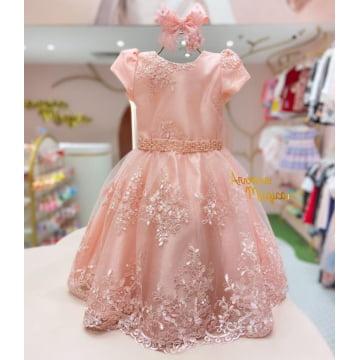 Vestido de Festa Infantil  Rosa Rendado Petit Cherie