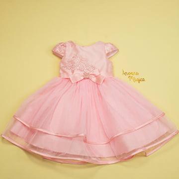 Vestido de Festa Infantil Minnie Rosa Tule Petit Cherie