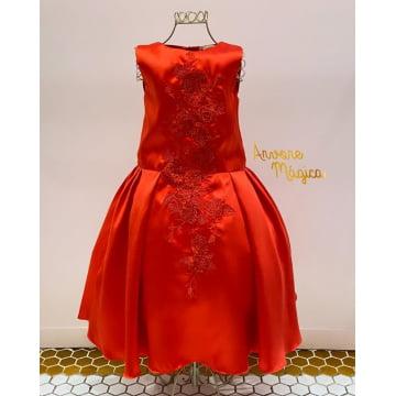 Vestido de Festa Infantil Vermelho Classic Petit Cherie