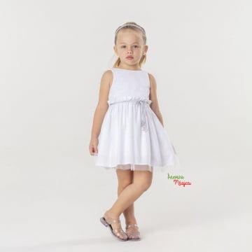 Vestido Infantil Branco Glitter Mon Sucré