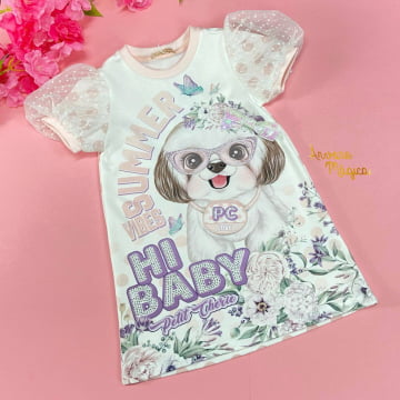 Vestido Infantil Cachorrinho Manga Bufante Petit Cherie