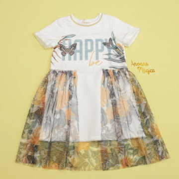Vestido Infantil Happy Be Tule Safari Petit Cherie