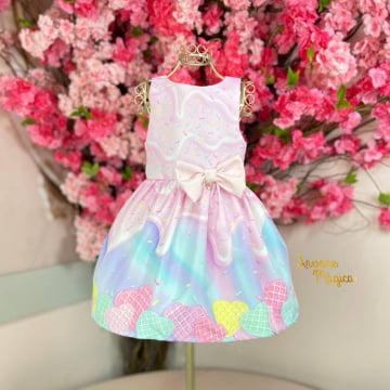 Vestido Infantil Mundo dos Doces Mon Sucré