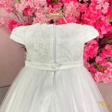 Vestido de Festa para Bebê Branco Renda Flores Petit Cherie