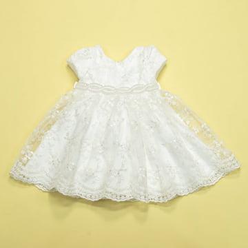 Vestido de Festa para Bebê Branco Rendado Petit Cherie