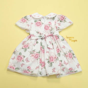 Vestido de Festa para Bebê Floral Fluído Petit Cherie