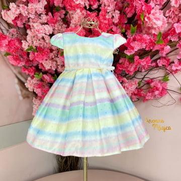 Vestido de Festa para Bebê Tie Dye Candy Color Petit Cherie