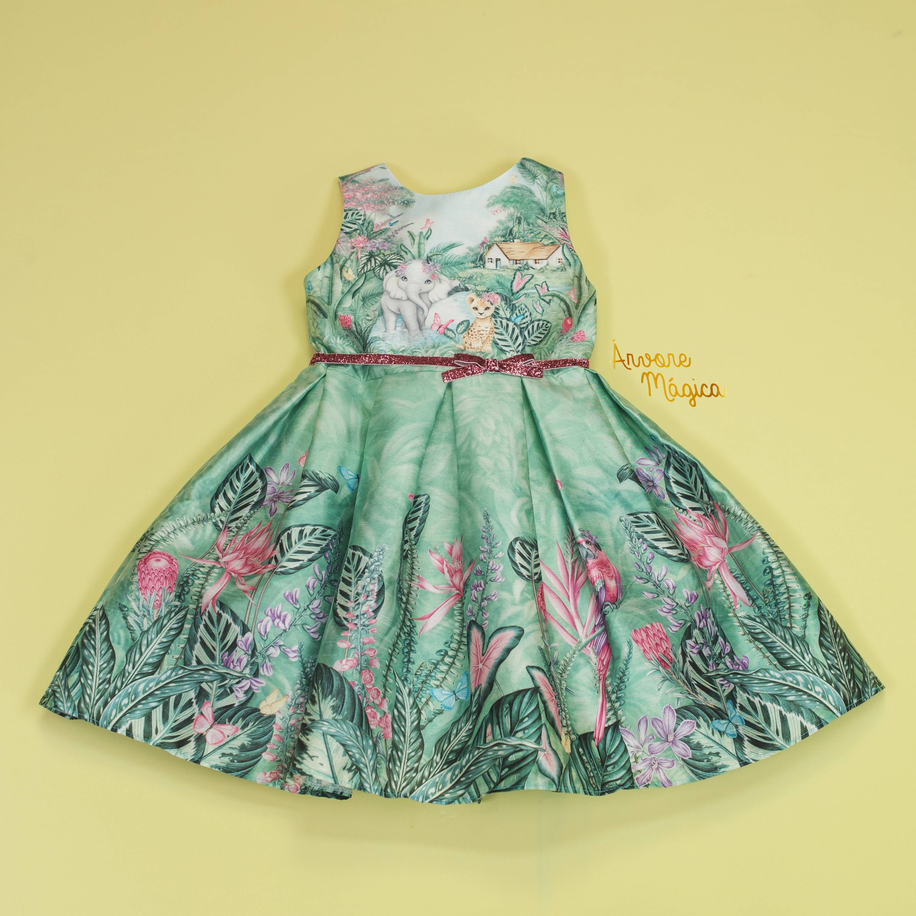 Vestido de Festa Infantil Bichinhos na Floresta Petit Cherie