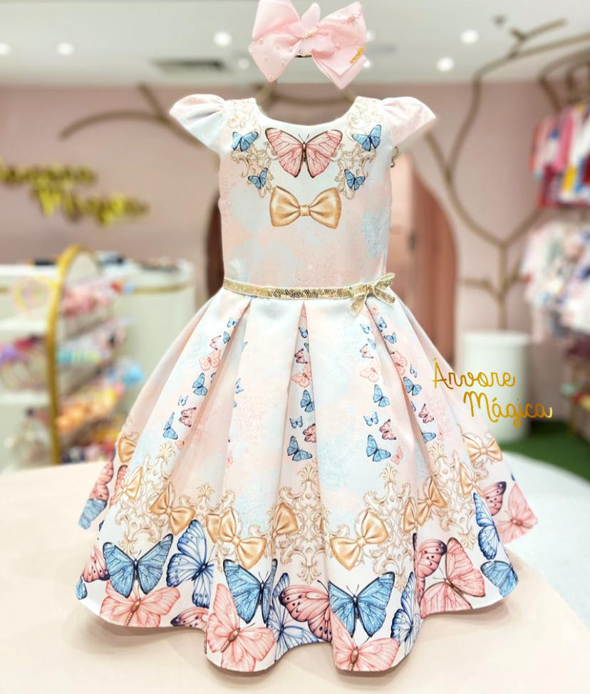 Vestido de Festa Infantil Borboletas Petit Cherie