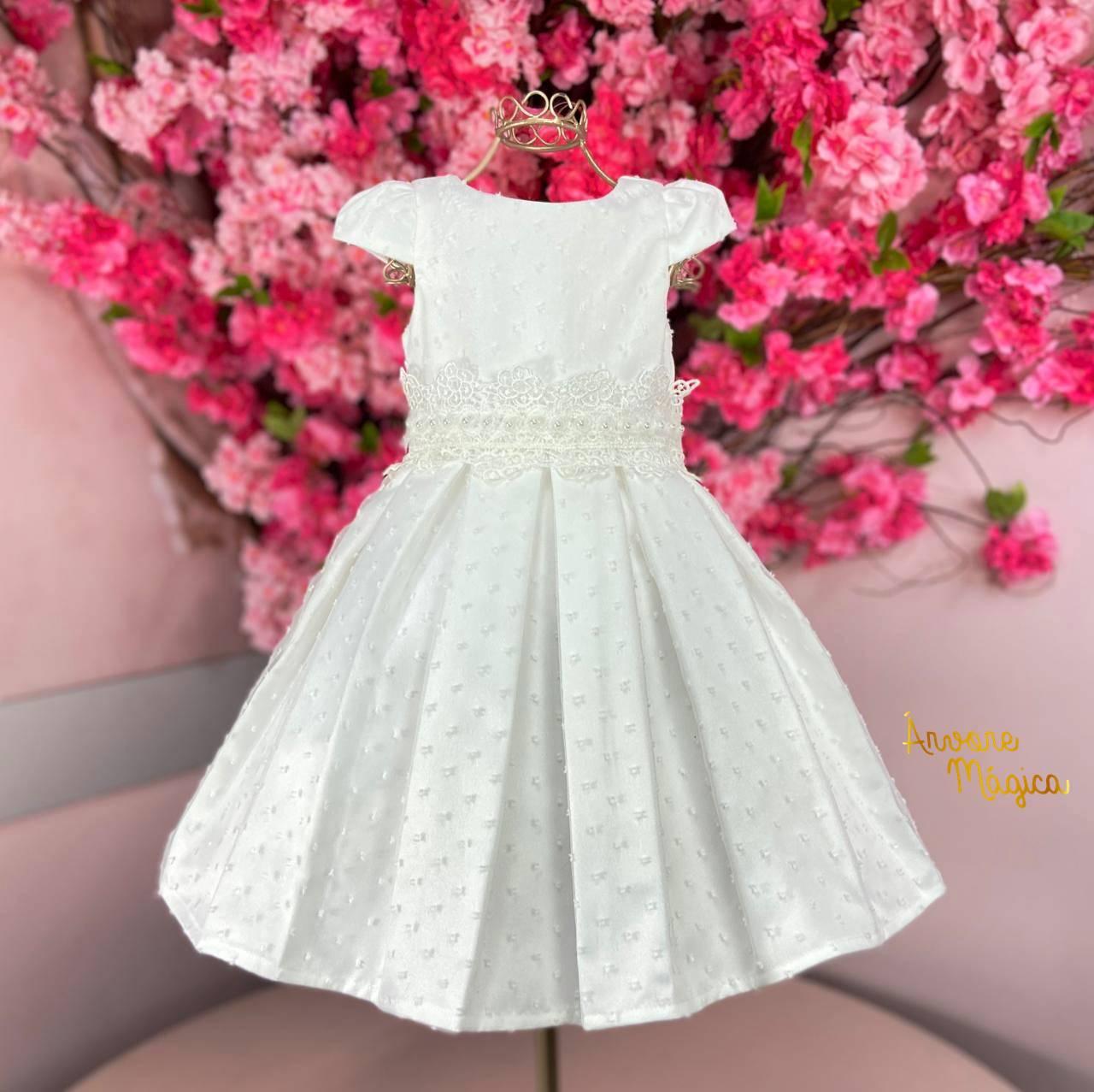 Vestido de Festa Infantil Branco Renda e Bordado Petit Cherie