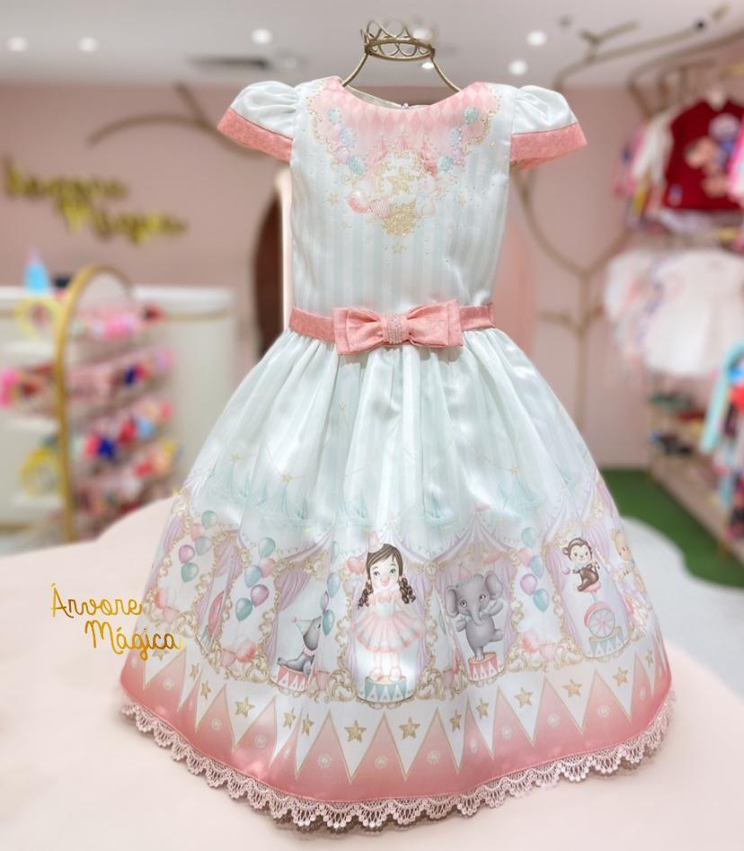 Vestido de Festa Infantil Circo Rosa Petit Cherie