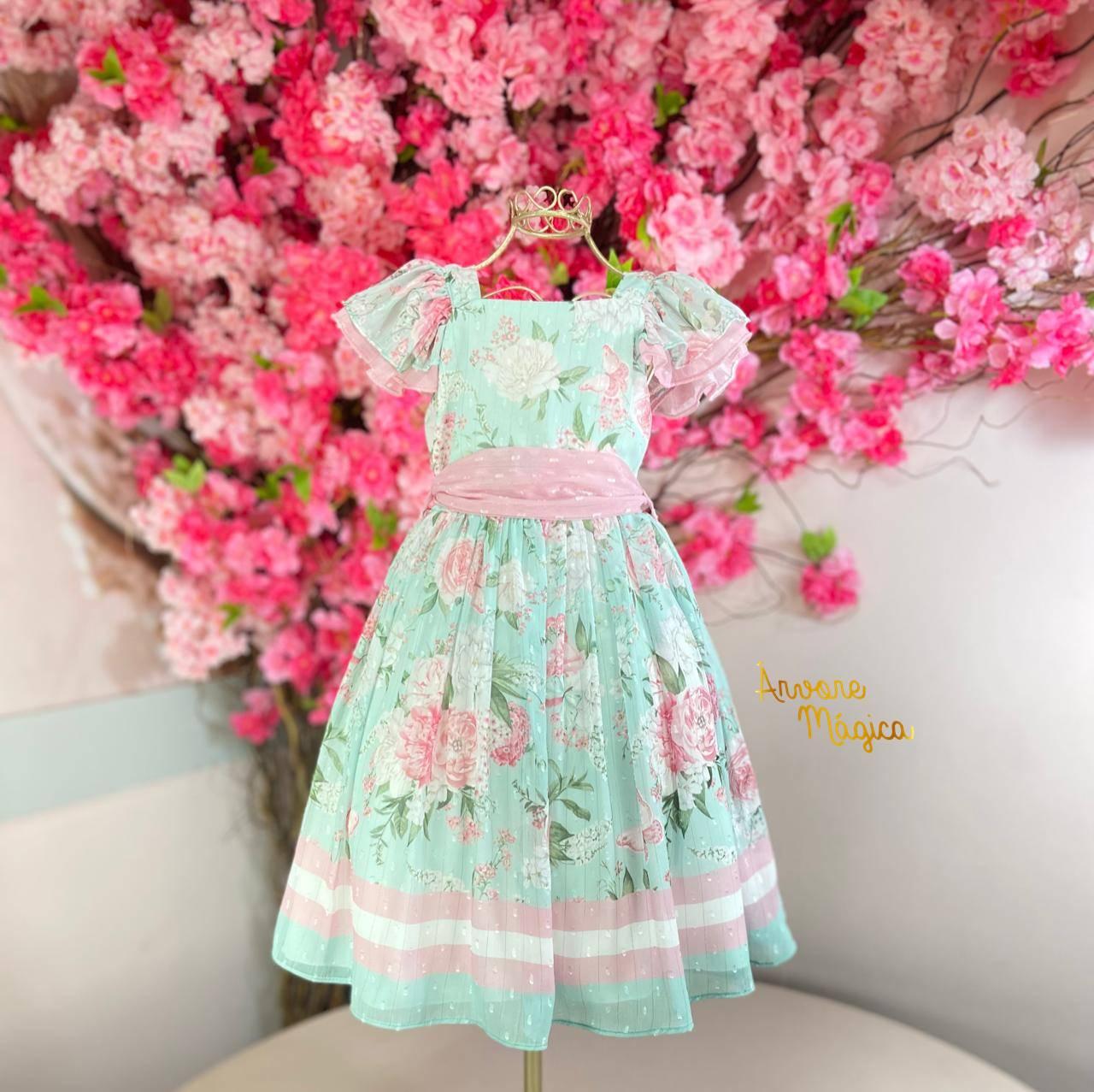 Vestido de Festa Infantil Fluído Jardim Encantado Petit Cherie