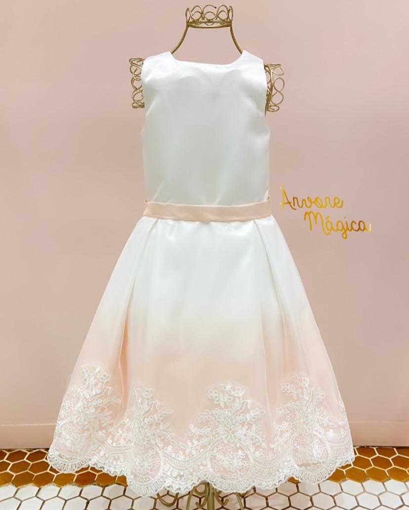 Vestido de Festa Infantil Ivy Barra Rendado Petit Cherie
