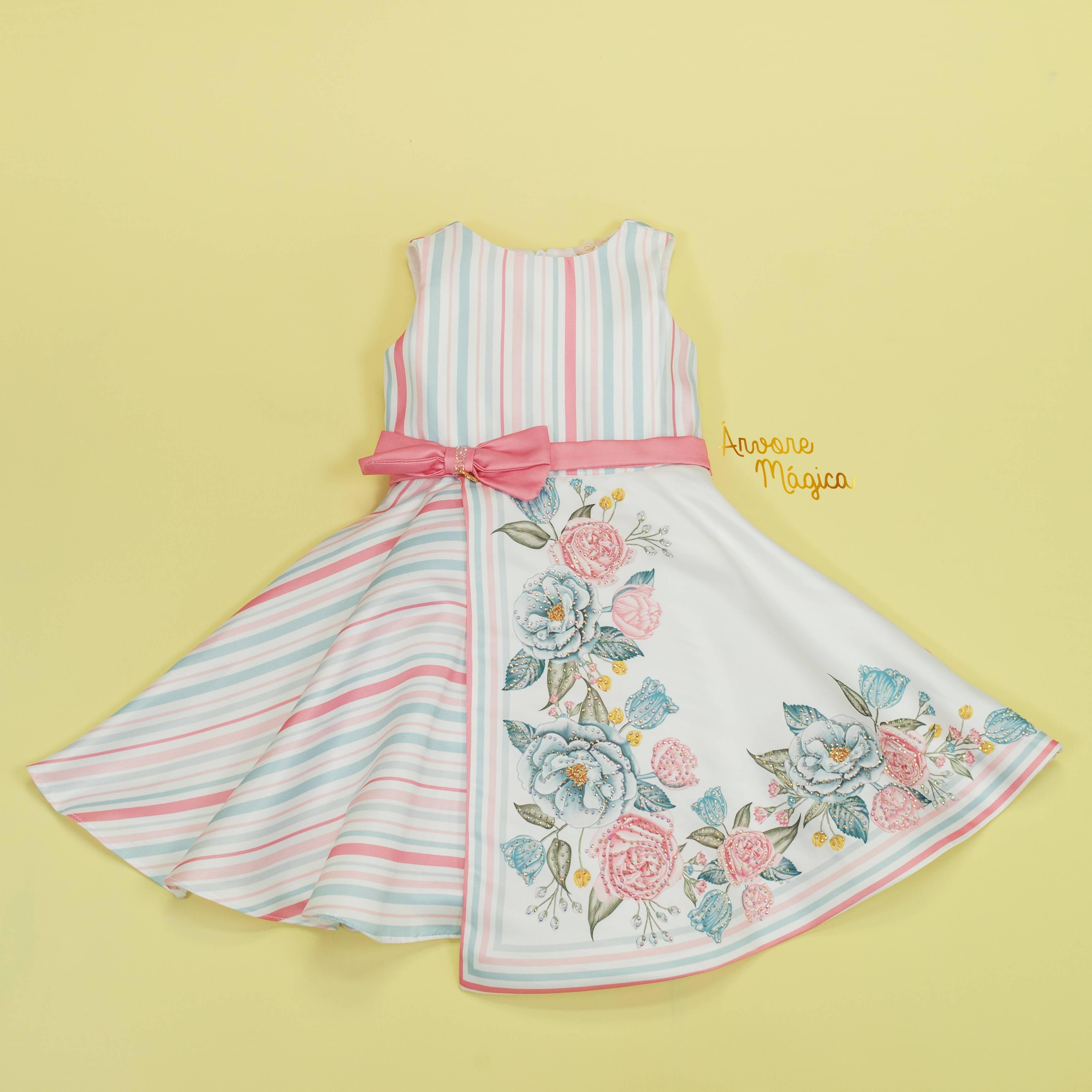 Vestido de Festa Infantil Listras e Floral Petit Cherie