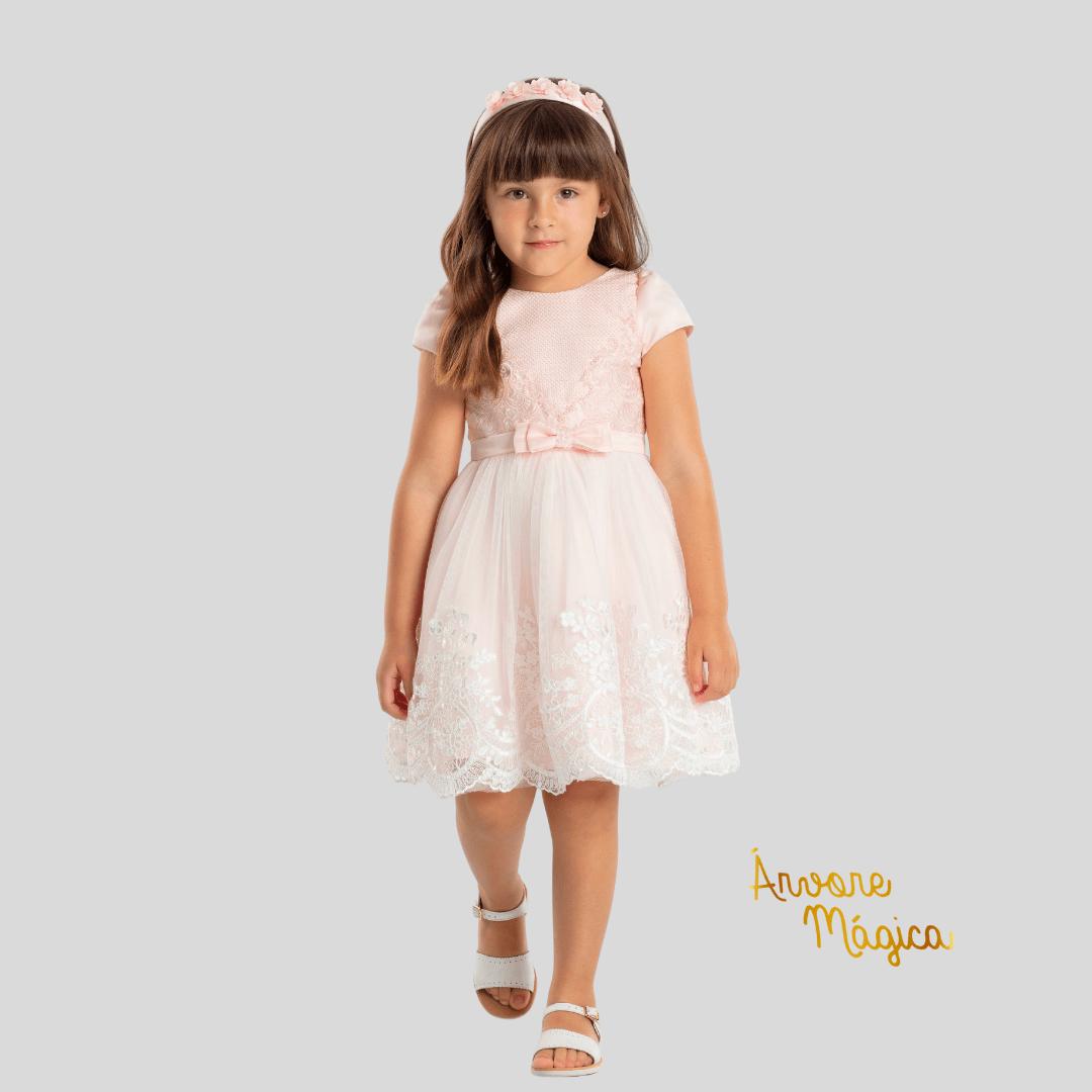 Vestido de Festa Infantil Rosa Renda Luxo Petit Cherie