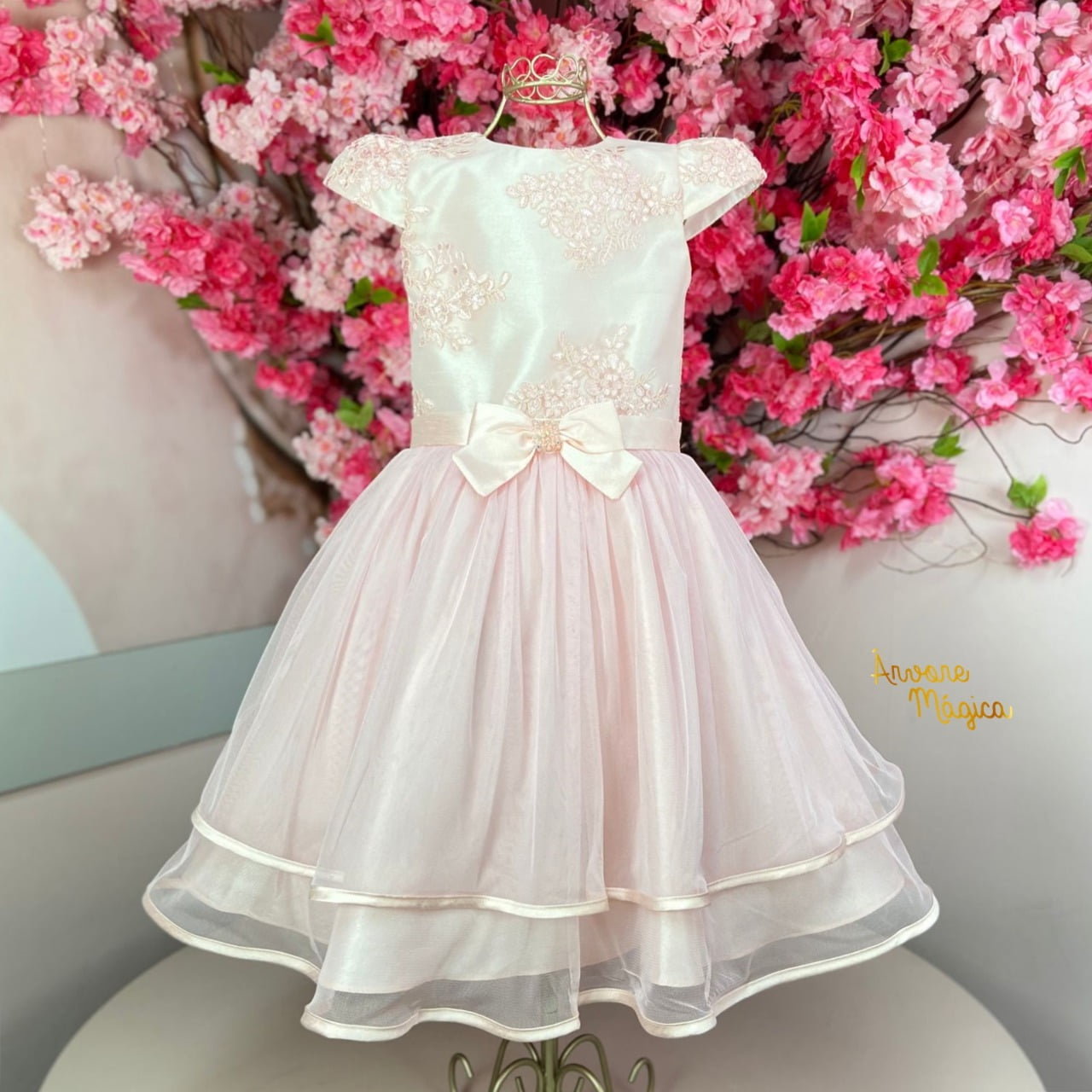Vestido de Festa Infantil Rosa Tule Kids Petit Cherie