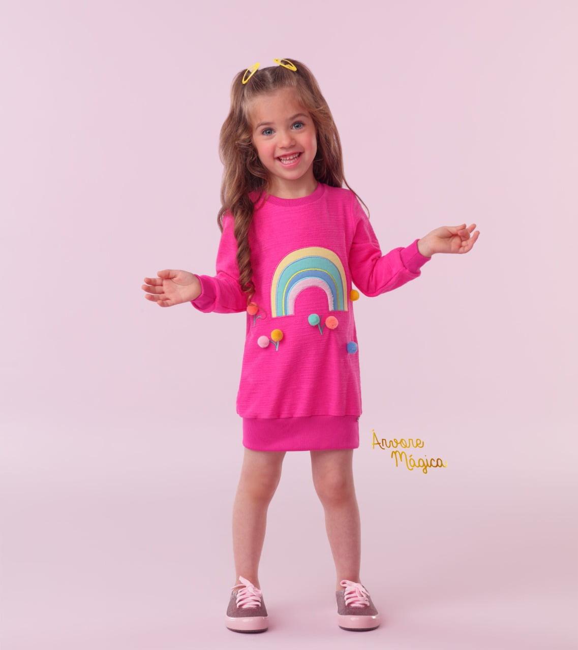 Vestido Infantil Arco Íris Pompom Mon Sucré