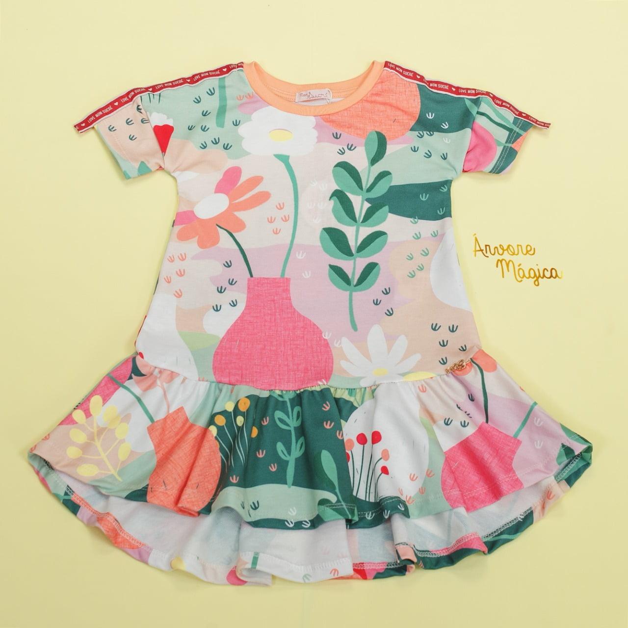 Vestido Infantil Botanic Mullet Mon Sucré