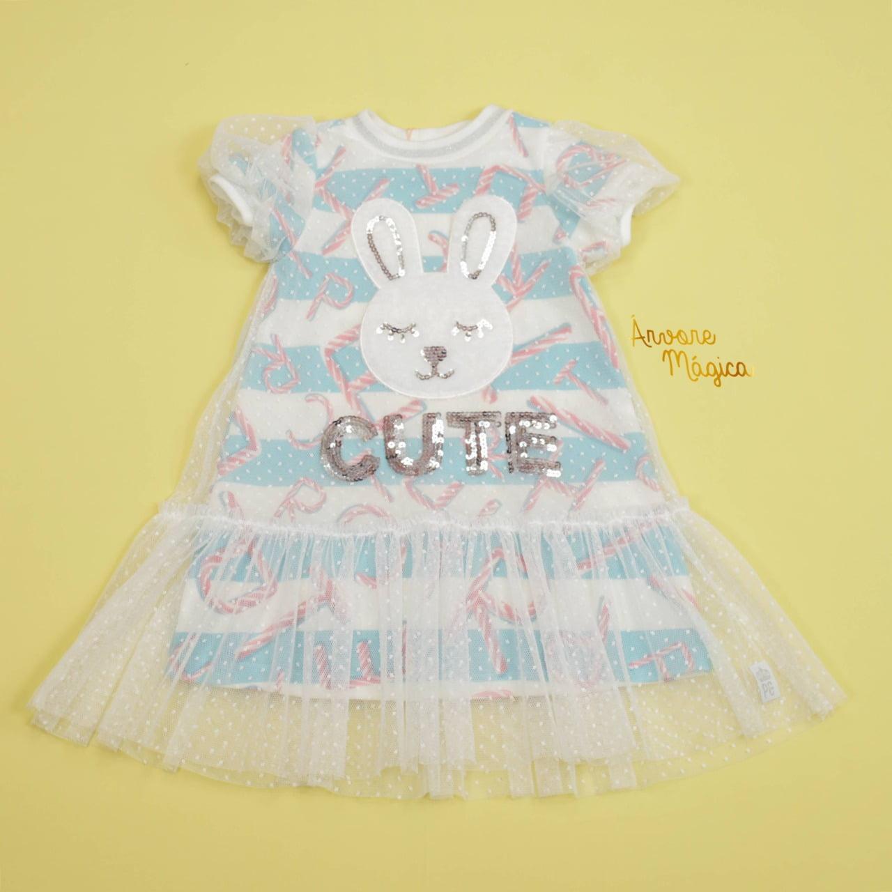 Vestido Infantil Coelhinho Tule Poá Petit Cherie