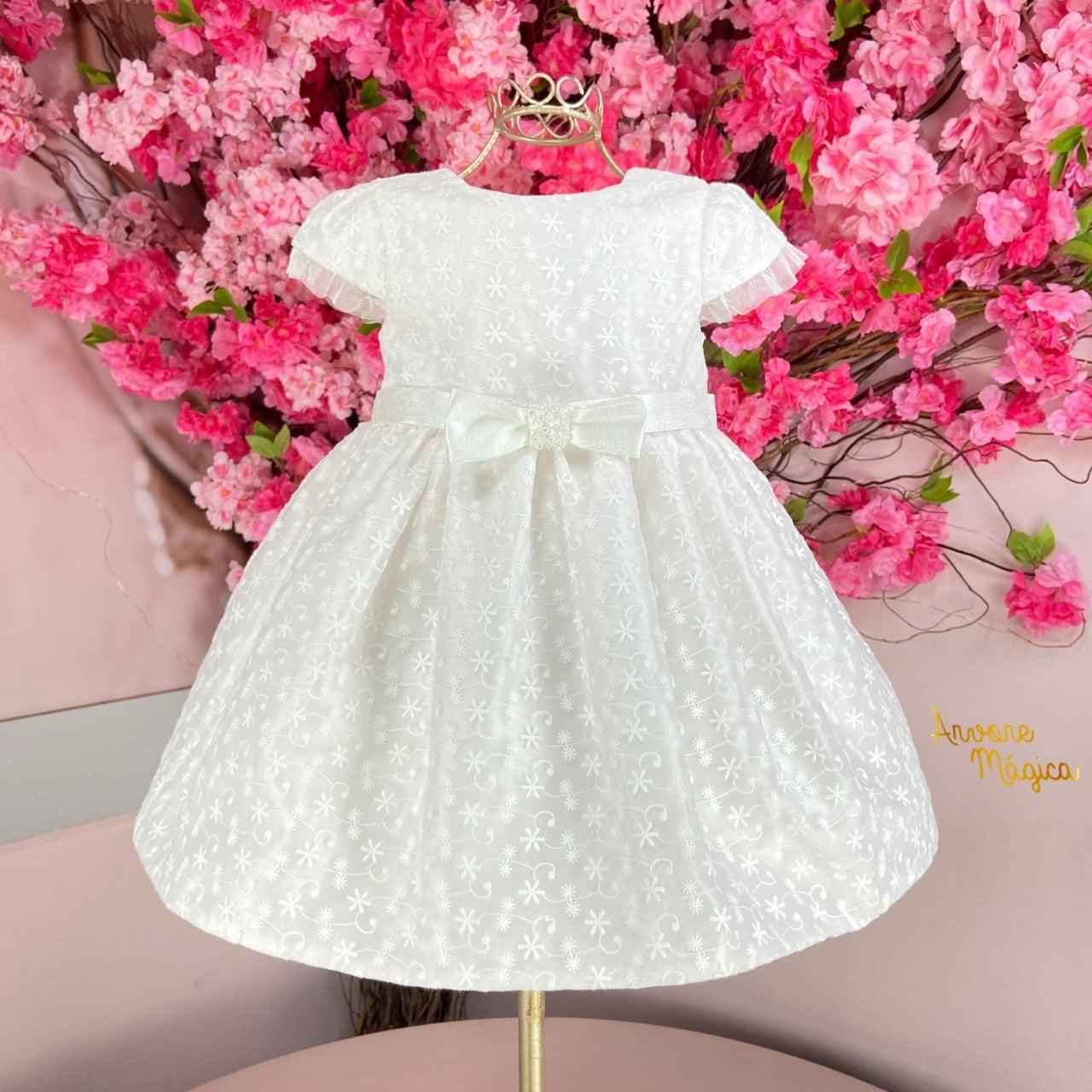 Vestido para bebê Branco Rendado Petit Cherie